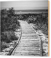 Crystal Cove Wooden Walkway In Black And White Wood Print