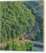 Csx Train At Hawks Nest Dam Wood Print
