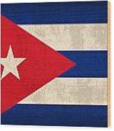 Cuba Flag Vintage Distressed Finish Wood Print