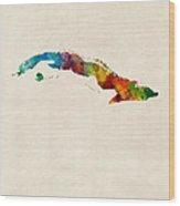 Cuba Watercolor Map Wood Print