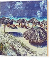 Cuban Beach Wood Print