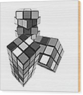 Cubed - Shades Of Grey Wood Print