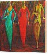 Cubism Dance II Wood Print