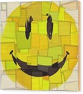 Cubism Smiley Face Wood Print