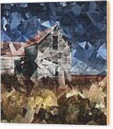 Cubist Abandoned Prairie Farm House Wood Print