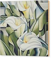 Cubist Lilies Wood Print by Catherine Abel