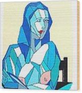 Cubistic Blue Lady Wood Print