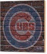 Cubs Baseball Graffiti On Brick  Wood Print