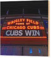Cubs Win Wood Print