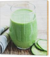 Cucumber Apple And Kale Smoothie Wood Print