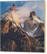 Cuernos Del Paine At Sunrise Wood Print