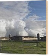 Cumulas Clouds Form Over Chicken Coops In Stockton Wood Print