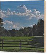 Cumulus Over Green Pastures Wood Print