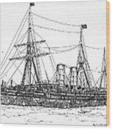 Cunard Liner Umbria 1880's Wood Print