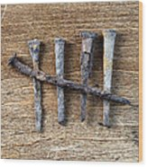 Counting With Old Nails Wood Print