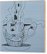 Cup Cake - Doodle Wood Print