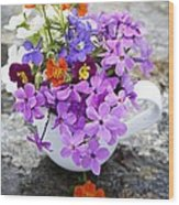 Cup Full Of Wildflowers Wood Print by Edward Fielding