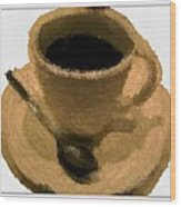 Cup Of Coffee Pissaro Style Wood Print