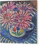 Cup Of Flowers Wood Print