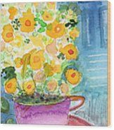 Cup Of Yellow Flowers- Abstract Floral Painting Wood Print