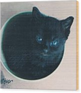 Cup O'kitty Wood Print