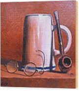 Cup Pipe And Glasses Wood Print