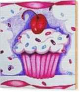 Cupcake And Ribbons Wood Print