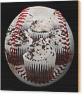 Cupcake Cuties Baseball Square Wood Print
