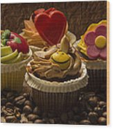 Cupcakes And Coffee Beans Wood Print
