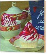 Cupcakes And Tea Je Suis Au Jardin Coffee Shop City Scene Cafe Montreal Food  Art Carole Spandau Wood Print