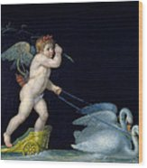 Cupid Being Led By A Pair Of Swans Wood Print