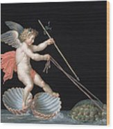 Cupid Being Led By Tortoises Wood Print