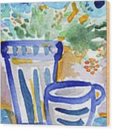 Cups And Flowers-  Watercolor Floral Painting Wood Print