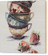Cups And Strawberries Wood Print