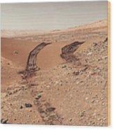 Curiosity Tracks Under The Sun In Mars Wood Print
