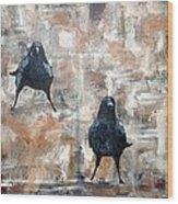 Curious Crows  Wood Print