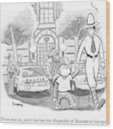 Curious George Is Escorted Out Of A Police Wood Print