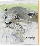 Curious Otter Wood Print