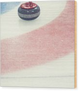 Curling Stone In A Distance Wood Print