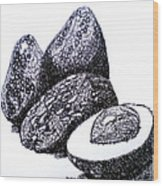Curly Avocados Wood Print