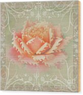 Curlyicue Peach Rose With Flourshis   Square Wood Print