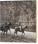 Current River Horses Wood Print