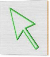 Cursor Arrow Mouse Green Line Wood Print