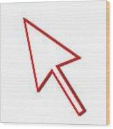 Cursor Arrow Mouse Red Line Wood Print