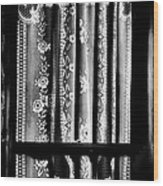 Curtain In Black And White Wood Print