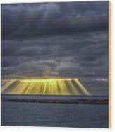 Curtain Sunrise At Orient Beach Wood Print