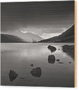 Curve Of Rocks In Monochrome At Loch Etive Wood Print