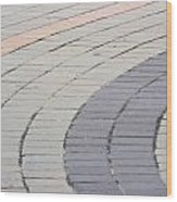 Curved Pavement As Background Wood Print
