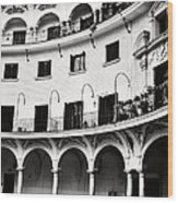 Curved Seville Spain Courtyard Wood Print