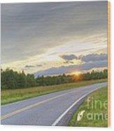 Curvy Road Sunset Wood Print
